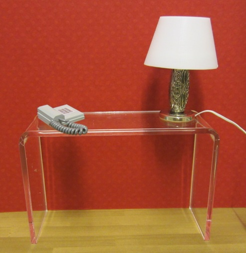 Clear acrylic minimalist console table