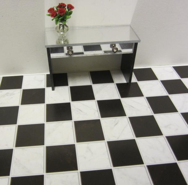 Classic black and white marble flooring