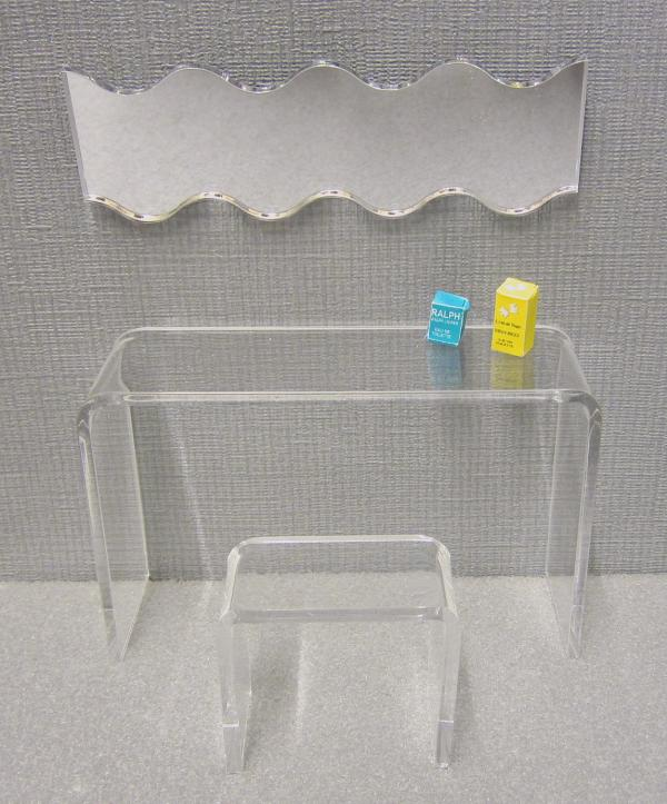 Minimalist dressing table and stool set, clear