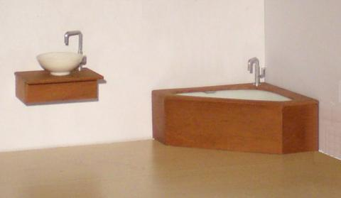 Corner bathroom set