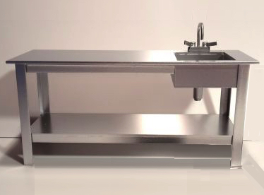 Commercial prep bench with sink