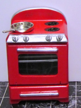 1950's stove, red