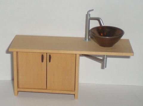 Asymmetrical vanity unit with bowl by Carol Mann